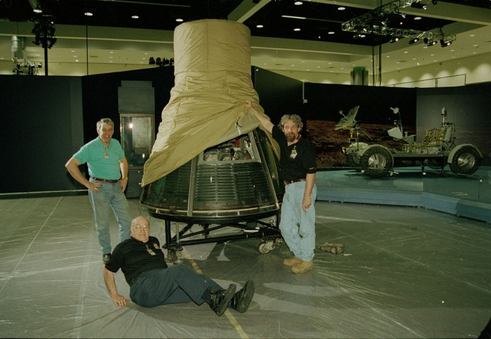 """The """"Freedom7"""" Mercury spacecraft being moved into position at the Los Angeles Convention Center. The Convention Center was the first stop of the """"America's Smithsonian"""" exhibition national tour celebrating the Smithsonian's 150th anniversary. The exhibition opened in Los Angeles on February 9, 1996."""