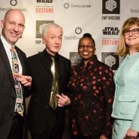 Anthony Daniels, the actor who brings to life the golden protocol Droid C-3PO, admires Acting Secretary Al Horvath's choice of tie. To Daniels' right are Claudine Brown and Myriam Springuel. (Photo by Brady Harvey, courtesy EMP Museum)