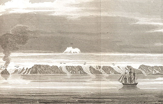 "Jan Mayen Island, north of Greenland, with Beerenberg Mountain in the background, from William Scoresby, Jr., ""An Account of the Arctic Regions, 1820."""