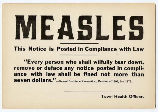 Quarantine signs such as this one were sometimes posted on house doors. Quarantines were more easily enforced in middle- or upper-class neighborhoods where only one family lived in each house. Enforcing quarantines in tenement buildings, where people lived in much closer quarters, was more difficult.