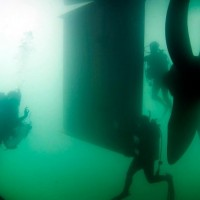 Visibility is so low that divers have to carefully steer clear of the ship's giant propeller. (Photo by Laurie Penland)