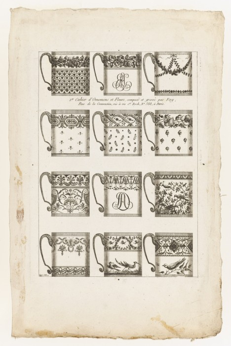 Print by Jean-Baptiste Fay showing different chocolate cup designs