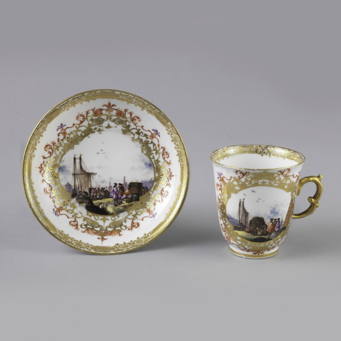 Chocolate Cup And Saucer, 1735–45, Designed by Meissen Porcelain Manufactory, Germany; Gilt and glazed porcelain; Cooper Hewitt, Smithsonian Design Museum, New York; Bequest of Erskine Hewitt, Inv. no. 1938-57-437-a,b.