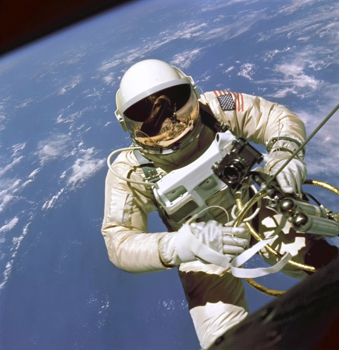 Ed White performing the first EVA by an American during Gemini IV in 1965. Jim McDivitt took this photograph. (Credit: NASA)