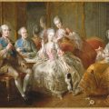 "Painting, Family of duke of Penthièvre, or ""The Cup of chocolate,"" 1768; Painted by Jean-Baptiste Charpentier (1728-1806); Oil on canvas; Château de Versailles, Réunion des musées nationaux, Inv. No. MV7716"