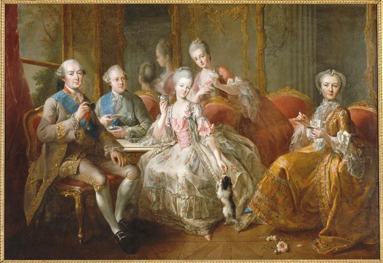 "Painting, Family of duke of Penthièvre, or ""The Cup of chocolate,"" 1768; Painted by Jean-Baptiste Charpentier (1728-1806); Oil on canvas; Château de Versailles, Réunion des musées nationaux, Inv. No. MV7716"