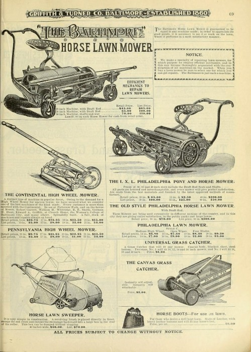 """Various lawnmower models for sale in 1900. Farm and garden supplies : Griffith and Turner Co. http://biodiversitylibrary.org/page/43837949. Digitized by the USDA National Agricultural Library."""