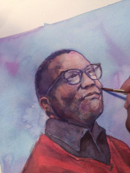 Detail of Keith Henry Brown working on his watercolor painting of Billy Strayhorn. Courtesy of the artist.