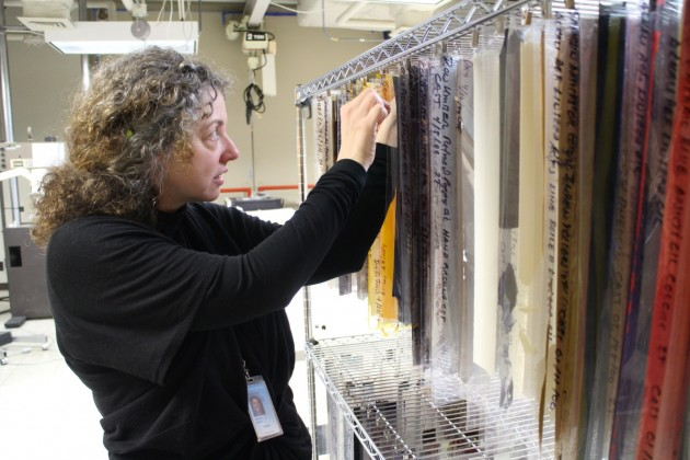 Dawn Rogala used her colleague Marion Mecklenburg's paint samples, or drawdowns, at the Smithsonian Museum Conservation Institute as part of her recent work on condition issues in several mid 20th-century paintings. (Photo: Michelle Z. Donahue)