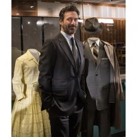 Jon Hamm with the gray suit he wore as Don Draper. (Photo by Jaclyn Nash)