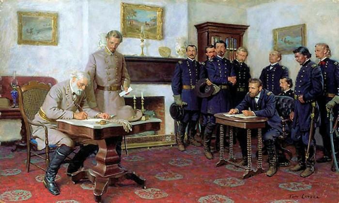 Tom Lovell (1909-1997)  Surrender at Appomattox  Oil on masonite  18 x 30 in. (45.7 x 76.2 cm.)