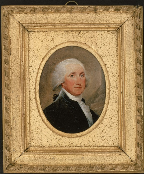 Miniature cabinet portrait of George Washington, painted by John Trumbull in 1795, towards the end of Washington's presidency. (Courtesy Smithsonian's National Museum of American History)