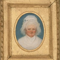 Miniature cabinet portrait of Martha Washington, painted by John Trumbull in 1795, towards the end of Washington's presidency.
