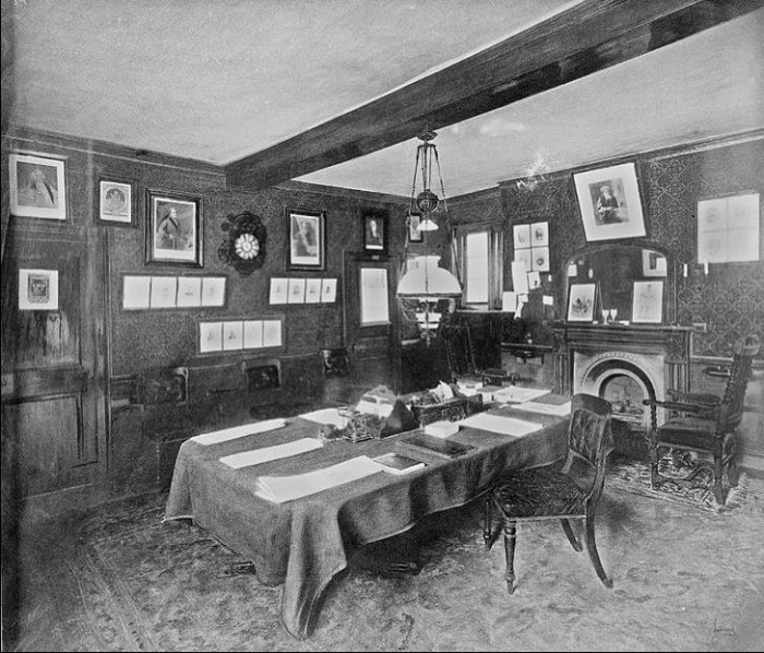 James Smithson's room at Pembroke College, Oxford University in 1894. Photographer unknown, via Smithsonian Institution Archives,