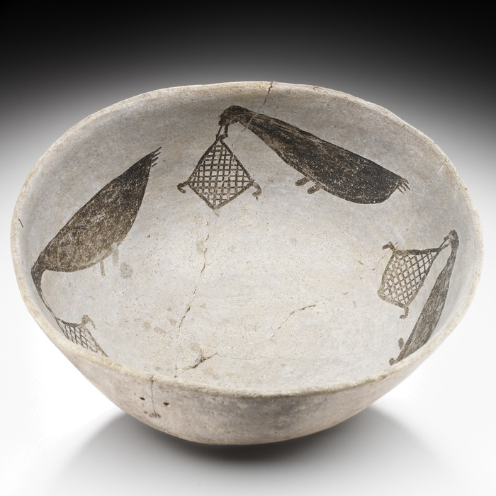 Red Mesa Black-on-White bowl illustrating birds carrying hunting nets, probably Pueblo (Anasazi), AD 875-1000 Chaco Canyon, Chaco Canyon National Historical Park; San Juan County; New Mexico; USA Collected by George H. Pepper before 1916; purchased by the Museum of the American Indian in 1916 using funds donated by Thea (Mrs. George) Heye. Collection of the National Museum of the American Indian
