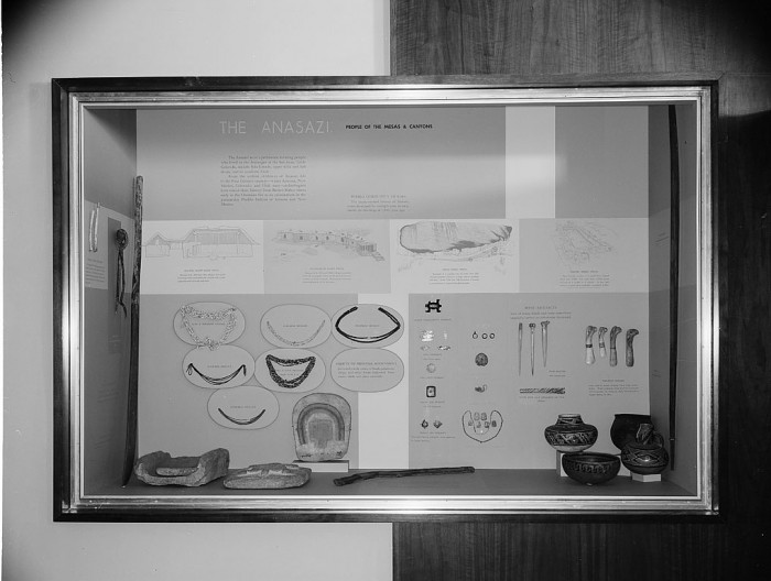 An exhibit case on the Anasazi, the people of the mesas and canyons, contains drawings of Pueblo Community Homes, objects of personal adornment and bone artifacts. The exhibit is on display in the North American Archeology Exhibit, which opened in November 1962, in the National Museum of Natural History. (Photographer unknown, via Smithsonian Institution Archives)