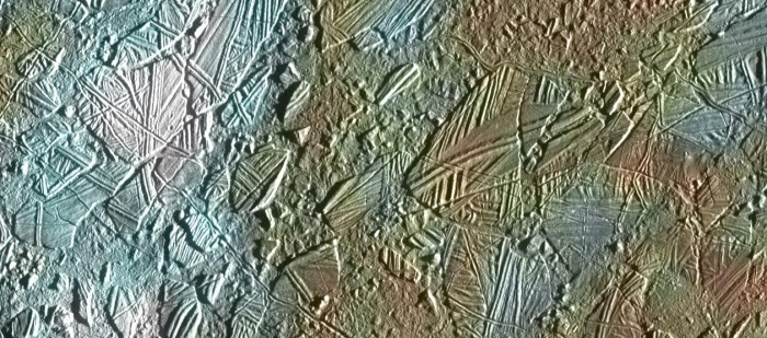 Bizarre features on Europa's icy surface suggest a warm interior. This view of the surface of Jupiter's moon Europa was obtained by NASA's Galileo mission. (Image credit: NASA / JPL-CalTech)