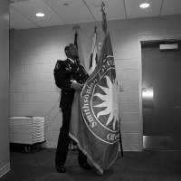 Officer David Matthews with the Smithsonian Institution flag