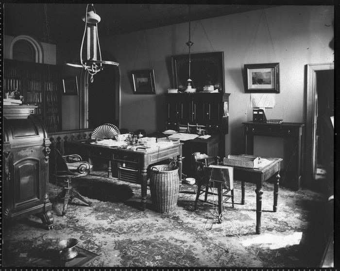 The East Range Office of Secretary Spencer Baird (1878-1887), in the Smithsonian Institution Building around 1878. Baird's state-of-the-art Wooten desk, providing a filing system with pigeon holes and writing surfaces, is visible on the far left. (Photo By Thomas W. Smillie (1843-1917))