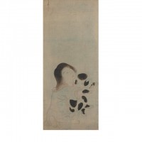 A Child Holding a Spotted Puppy. Tawaraya Sōtatsu; Japan, Edo period, ca. 1600–1630; Hanging scroll (mounted on panel); ink and tint on paper; H x W: H x W (panel): 203.4 x 60.8 cm (80 1/16 x 23 15/16 in); Gift of Charles Lang Freer, F1902.37; Freer Gallery of Art, Smithsonian