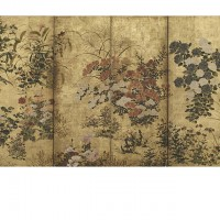 """Coxcombs, Maize and Morning Glories. """"Inen"""" seal; Japan, Edo period, 17th century; Screen (two panel); ink, color, gold, and silver on paper; H x W: 159.3 x 190 cm (62 11/16 x 74 13/16 in); Gift of Charles Lang Freer, F1896.82; Freer Gallery of Art, Smithsonian"""