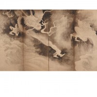 Dragons and Clouds (Unryū-zu). Tawaraya Sōtatsu; Japan, Edo period, 1590-1640; Pair of screens (six panel); ink and pink tint on paper; H x W: 171.5 x 374.3 cm (67 1/2 x 147 3/8 in); Gift of Charles Lang Freer, F1905.229-230; Freer Gallery of Art, Smithsonian
