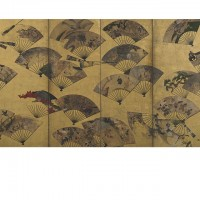 """Screen with Scattered Fans. """"Tatō"""" seal; Japan, Edo period, early 17th century; Screen (six panel); ink, color, gold, and silver on paper; H x W: 170.2 x 378.5 cm (67 x 149 in); Gift of Charles Lang Freer, F1900.24; Freer Gallery of Art, Smithsonian"""
