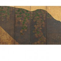 Ivy Vines, Bridges, and Floating Fans. Tawaraya Sōtatsu; Japan, Edo period, 17th century; One of a pair of screens (six panel); color, gold, and silver on paper; H x W: 170 x 381 cm (66 15/16 x 150 in); Gift of Charles Lang Freer, F1902.103; Freer Gallery of Art, Smithsonian