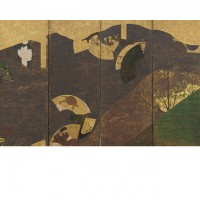 Ivy Vines, Bridges, and Floating Fans. Tawaraya Sōtatsu; Japan, Edo period, 17th century; One of a pair of screens (six panel); color, gold, and silver on paper; H x W: 170 x 381 cm (66 15/16 x 150 in); Gift of Charles Lang Freer, F1902.102; Freer Gallery of Art, Smithsonian