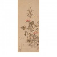 """Peonies and Lilies. """"Inen"""" seal; Japan, Edo period, 1568–1615; Hanging scroll (mounted on panel); ink and color on paper; H x W: 107.3 x 44.1 cm (42 1/4 x 17 3/8 in); Gift of Charles Lang Freer, F1898.56; Freer Gallery of Art, Smithsonian"""