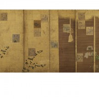 Poem Cards from the Shin-kokinshū Anthology Mounted on a Screen. Calligraphy in the style of Hon'ami Kōetsu; paper design in the style of Tawaraya Sōtatsu; Japan, Edo period, 17th century; One of a pair of screens (six panel); ink, color, and gold on paper; 168.2 x 375.7 cm (66 1/4 x 147 15/16 in); Gift of Charles Lang Freer, F1902.195; Freer Gallery of Art, Smithsonian
