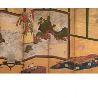 """Who's Sleeves? (tagasode) Painting with """"Waves of Matsushima"""" Screen. Tawaraya Sōtatsu; Japan, Edo period, 18th century; Pair of screens (six panel); color and gold on paper; H x W: 175.8 x 369.9 cm (69 3/16 x 145 5/8 in); Gift of Charles Lang Freer, F1907.126-127; Freer Gallery of Art, Smithsonian"""