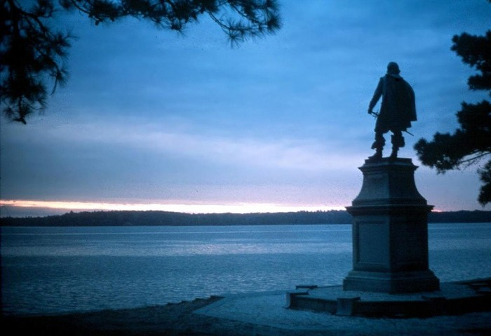 A statue of John Smith gazes out at the James River on the site of the first English colony in America. (Courtesy National Park Service)