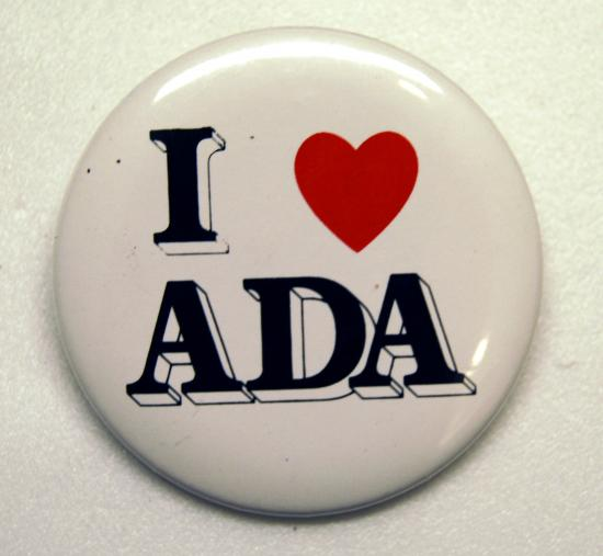 """ I love the ADA"" button from the 1990s."