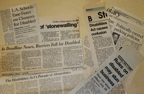Newspaper clippings from early 1990s that capture the confusion and contention around implementing the law