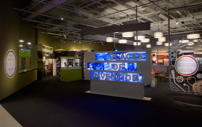 Places of Invention exhibit entrance in the Jerome and Dorothy Lemelson Hall of Invention. Locations featured in the exhibit include the Bronx, home of hip-hop, and Silicon Valley, birthplace of the personal computer. (Photo courtesy of the National Museum of American History)