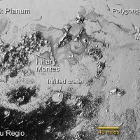 The southern region of Pluto's Sputnik Planum contains newly discovered ranges of mountains that have been informally named Hillary Montes (Hillary Mountains) and Norgay Montes (Norgay Montes) for Sir Edmund Hillary and Tenzing Norgay, the first two humans to reach the summit of Mount Everest in 1953. These mountains are made of water ice, which is hard as rock at Pluto's low temperature. Credit: NASA/JHUAPL/SWRI