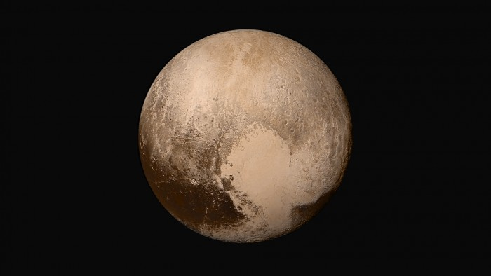 This global view of Pluto, taken when the spacecraft was 280,000 miles away, show features as small as 1.4 miles, twice the resolution of the single-image view taken on July 13. Credit: NASA/JHUAPL/SWRI