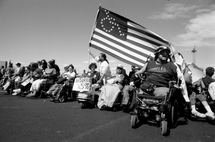 Protesters from the grass-roots disabilities rights group ADAPT in Las Vegas, 1993. (Photo courtesy of Tim Olin)