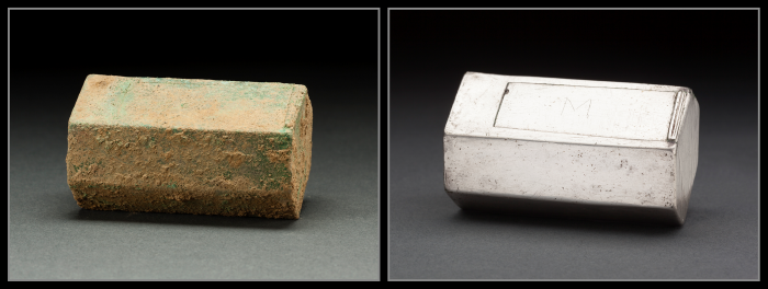 A well-preserved silver box believed to be a Catholic reliquary resting on top of Capt. Gabriel Archer's coffin was an unexpected find at the site of the 1608 Anglican church, suggesting that at least one of the colonists retained his Catholic faith, perhaps in secret. In July 2015, a team of scientists from the Smithsonian's National Museum of Natural History and Jamestown Rediscovery announced the identities of Rev. Robert Hunt, Capt. Gabriel Archer, Sir Ferdinando Wainman and Capt. William West, high-status leaders who helped shape the future of America during the initial phase of the Jamestown colony. (Photo by Donald E. Hurlbert / Smithsonian Institution)