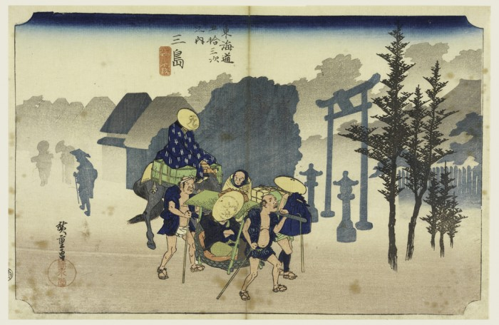 Ando Hiroshige, Morning Mist, In the Fifty-Three Stations of the Tokaido Road (Tokaido Gojusan Tsugi-no Uchi), ca 1834. Ink and watercolor on paper.