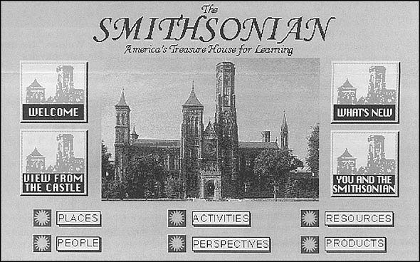 The Smithsonian Institution's Home Page (www.si.edu) when first launched on the World Wide Web in 1995. The site contained more than 1,500 electronic pages and contains overviews in Spanish, German, and French. Within the first 24 hours the page received about 100,000 hits.