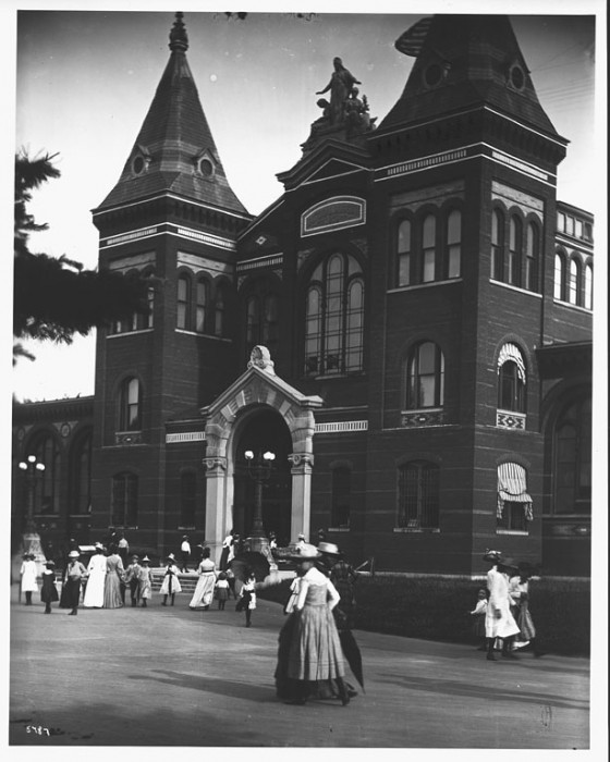 Visitors to the Arts and Industries Building, home of the United States National Museum, in the late 19th century. (Via Smithsonian Institution Archives.)