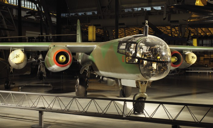 The Arado Ar 234 B Blitz (Lightning) was the world's first operational jet bomber and reconnaissance aircraft. The first Ar 234 combat mission, a reconnaissance flight over the Allied beachhead in Normandy, took place August 2, 1944. With a maximum speed of 735 kilometers (459 miles) per hour, the Blitz easily eluded Allied piston-engine fighters. While less famous than the Messerschmitt Me 262 jet fighters, the Ar 234s that reached Luftwaffe units provided excellent service, especially as reconnaissance aircraft. This Ar 234 B-2 served with bomber unit KG 76 from December 1944 until May 1945, when British forces captured it in Norway. Turned over to the United States, it was brought to Wright Field, Ohio, in 1946 for flight testing. In 1949 it was transferred to the Smithsonian, which restored it in 1984-89. This Arado is the sole survivor of its type.