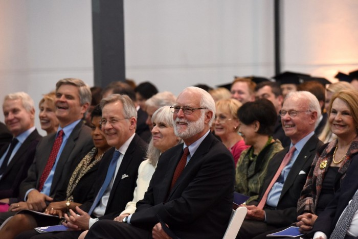 Dr. Wayne Clough, 12th Secretary of the Smithsonian, listens to remarks at the installation of Dr. David Skorton as 13th Secretary, Oct. 19, 2015. (Photo by Joyce Boghosian)