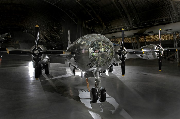 Boeing's B-29 Superfortress was the most sophisticated propeller-driven bomber of World War II and the first bomber to house its crew in pressurized compartments. Although designed to fight in the European theater, the B-29 found its niche on the other side of the globe. In the Pacific, B-29s delivered a variety of aerial weapons: conventional bombs, incendiary bombs, mines, and two nuclear weapons. On August 6, 1945, this Martin-built B-29-45-MO dropped the first atomic weapon used in combat on Hiroshima, Japan. Three days later, Bockscar (on display at the U.S. Air Force Museum near Dayton, Ohio) dropped a second atomic bomb on Nagasaki, Japan. Enola Gay flew as the advance weather reconnaissance aircraft that day. A third B-29, The Great Artiste, flew as an observation aircraft on both missions.