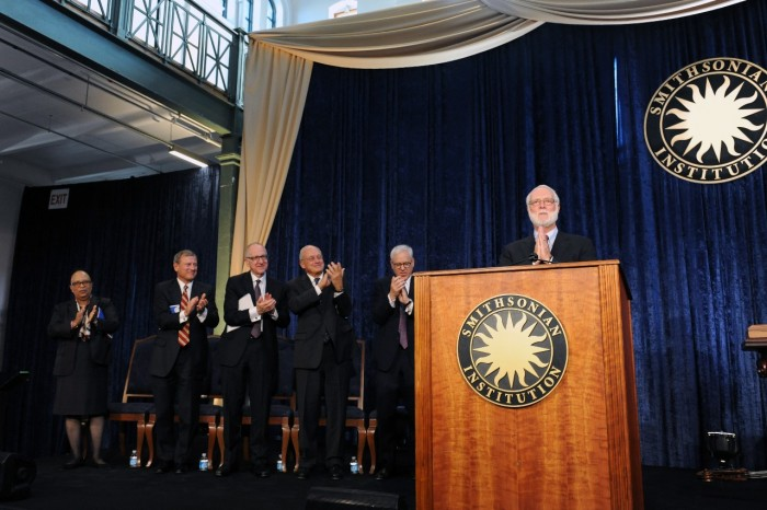 From left, Shirley Ann Jackson, vice chair of the Board of Regents; Chief Justice of the United States and Smithsonian Chancellor John G. Roberts; Dr. David J. Skorton, 13th Secretaru of the Smithsonian, John W. McCarter, chair of the Board of Regents; Regent David M. Rubenstein; and Dr. G. Wayne Clough, 12th Secretary of the Smithsonian. (Photo by Joyce Boghasian)