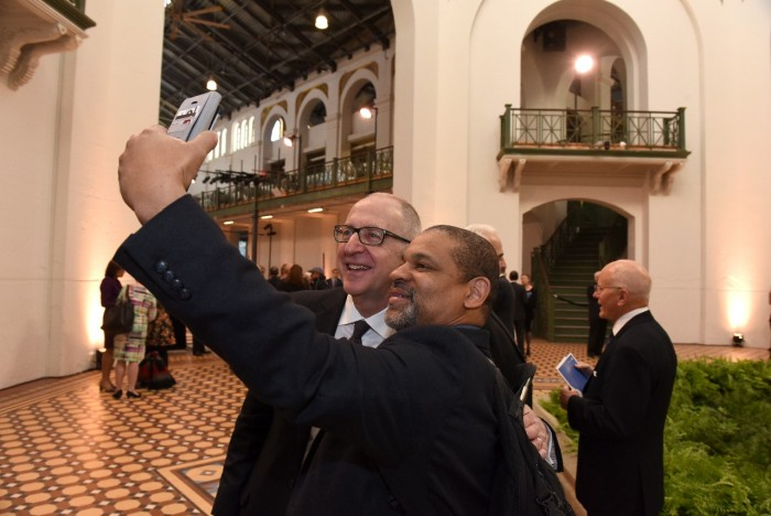 Staff had the opportunity to meet (and take a selfie with) Dr. Skorton at a reception following his installation as 13th Smithsonian Secretary Oct. 19, 2015. (Photo by Joyce Boghosian)