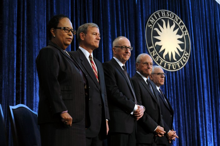 From left, Shirley Ann Jackson, vice chair of the Smithsonian Board of Regents; Chief Justice of the United States and Smithsonian Chancellor John G. Roberts; David J Skorton, 13th Secretary of the Smithsonian Institution; John W. McCarter, Jr., chair of the Smithsonian Board of Regents; and David M. Rubenstein, Smithsonian Board of Regents at the installation of the 13th Secretary Oct. 19. 2015.
