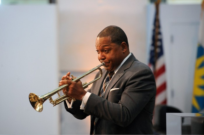Acclaimed composer and musician Wynton Marsalis played a Selmer trumpet made for jazz legend Louis Armstrong during a performance with the Smithsonian Jazz Masterworks Orchestra at the installation of David J. Skorton as 13th Secretary of the Smithsonian Institution, Oct. 19, 2015. (Photo by Joyce Boghosian / Smithsonian Institution)